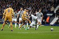Dele Alli of Tottenham Hotspur scores his teams 1st goal to equalise at 1-1.  . Premier league match, West Bromwich Albion v Tottenham Hotspur at the Hawthorns stadium in West Bromwich, Midlands on Saturday 15th October 2016. pic by Andrew Orchard, Andrew Orchard sports photography.