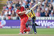 James Faulkner during the NatWest T20 Blast Semi Final match between Hampshire County Cricket Club and Lancashire County Cricket Club at Edgbaston, Birmingham, United Kingdom on 29 August 2015. Photo by David Vokes.