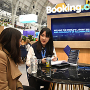 Booking.com stalls exhibition at Business Travel Show 2020 and travel technology europe on 26th February 2020, Olympia London‎, UK.