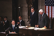 President Ronald Reagan delivers the State of the Union message in February 1981..Photograph by Dennis Brack BB23