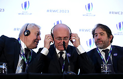 France 2023 bid president Claude Atcher (left), French Rugby Federation president Bernard Laporte (centre) and Serge Simon (right) during the 2023 Rugby World Cup host union announcement at The Royal Garden Hotel, Kensington.