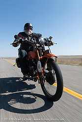 John Bartman riding his 1923 Harley-Davidson J during the Motorcycle Cannonball coast to coast vintage run. Stage 10 (299 miles) from Sturgis, SD to Billings, MT. Tuesday September 18, 2018. Photography ©2018 Michael Lichter.