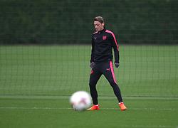 18 October 2017 London Colney: Arsenal Football Club training session: A stray ball passes by Mesut Ozil.<br /> Photo: Mark Leech