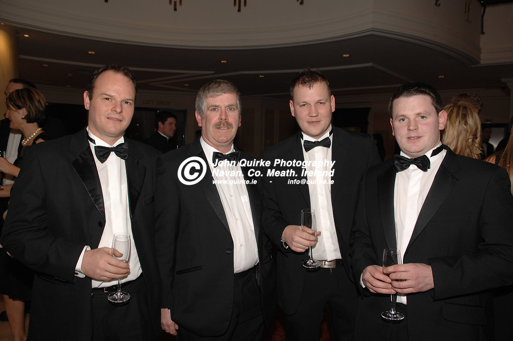 04-02-08. The Meath Chronicle/Cusack Hotels - Meath Sports Personalty of the Year Awards 2007 at the Knightsbrook Hotel, Trim. Co. Meath.<br /> L to R: John McNally, Newgrange Hotel. Pat Dunne, Cusack Homes. Darren Friel and Pauric Davis.<br /> Photo: John Quirke / www.quirke.ie<br /> ©John Quirke Photography, Unit 17, Blackcastle Shopping Cte.<br /> Navan. Co. Meath. 046-9079044 / 087-2579454.