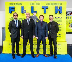 Producer Ken Marshall, Irvine Welsh, director Jon S Baird and James McAvoy, <br /> Edinburgh hosts the World Premiere of Filth at the Omni cinema.<br /> ©Michael Schofield.