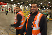 Postal workers enjoy humour at the Royal Mail's DIRFT logistics park in Daventry, Northamptonshire England.