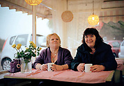 Two retired waitresses, who used to work at the Red Lodge, having a cup of tea at the Red Lodge 24hr Café on the 10th November 2009 in the United Kingdom. The Red Lodge Cafe is just off the A11, along the B1085 in Suffolk.