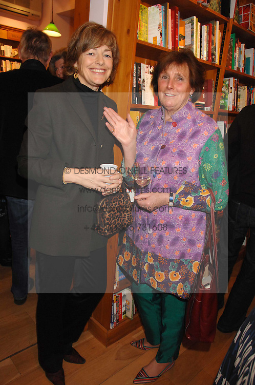 Left to right, FLORA FRASER and LADY AMABEL LINDSAY at a party to celebrate the publication of 'The Umbrella of Faith' by Willie Stirling held at the Daunt Bookshop, Holland Park Road, London W11 on 27th November 2007.<br />