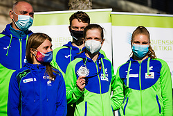 Marusa Mismas, Tina Sutej and Maja Mihalinec during reception and press conference on return of Slovenian Athletic National team from European Championships in Torun (POL), on March 8, 2021 in  Ljubljana, Slovenia.  Photo by Grega Valancic / Sportida