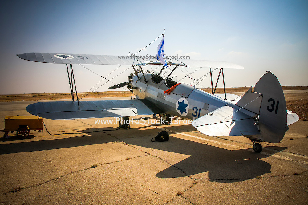 Israeli Air Force Stearman (Boeing) Model 75 PT-17 biplane, of which at least 9,783 were built in the United States during the 1930s and 1940s as a military trainer aircraft. Widely known as the Stearman, Boeing Stearman or Kaydet,