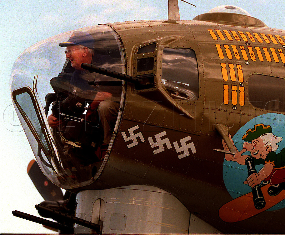 Walter Schlecht , 73,  sits in a gun turret at the nose of a B-17 bomber on display at Weeks Air Museum at Tamiami Airport, Miami..Schlecht flew 35 missions over Germany during WWII as a B-17 pilot.