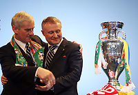 Photo: Rich Eaton.<br /> <br /> UEFA European Championships 2012 Press Conference. 18/04/2007. Michal Listkiewicz left, President of Polish FA and Grygoriy Surkis President of Ukraine FA pose with the trophy after they are announced as host nations
