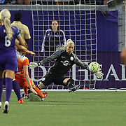 ORLANDO, FL - APRIL 23: Goalkeeper Ashlyn Harris #1 of Orlando Pride makes a save during a NWSL soccer match against the Houston Dash at the Orlando Citrus Bowl on April 23, 2016 in Orlando, Florida. (Photo by Alex Menendez/Getty Images) *** Local Caption *** Ashlyn Harris