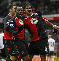 Photo: Steve Bond/Sportsbeat Images.<br />Derby County v Blackburn Rovers. The FA Barclays Premiership. 30/12/2007. Roque Santa Cruz (R) celebrates his goal. Benni McCarthy (L) enjoys it in front of the Derby fans
