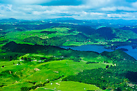 Aerial view of Lake Tarawera, near Rotorua, north island, New Zealand