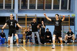 Players of Calcit Volleyball celebrate during volleyball match between Calcit Volleyball and Draisma Dynamo Apeldoorn in CEV Challenge Cup, on December 2, 2015 in Sportna dvorana, Kamnik, Slovenia. (Photo By Matic Klansek Velej / Sportida)