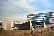 Modern architecture of new church buildings in capital city of Brasilia, Federal District, Brazil in 1962