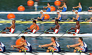 Shunyi, CHINA.   Men's quads  move away from the start in their Repechage, at the 2008 Olympic Regatta, Shunyi Rowing Course. Tuesday 12.08.2008  [Mandatory Credit: Peter SPURRIER, Intersport Images]
