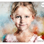 A photo/watercolour/oil painting montage of a young girl, photographed, retouched and manipulated in the Hype photography studio Basingstoke Hampshire.