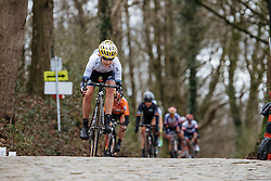 Emma Johansson descends off Kemmelberg for the final time - Women's Gent Wevelgem 2016, a 115km UCI Women's WorldTour road race from Ieper to Wevelgem, on March 27th, 2016 in Flanders, Belgium.
