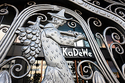 Exterior of  KaDeWe department store with ornate gates closed on public holiday, Berlin, Germany