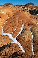 Danxia type of eroded desert clay layers, shaped by wind, rain and snow, Kalamaili National Nature Reserve, Xinjiang, China