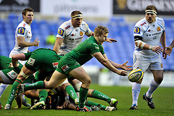 Scott Steele of London Irish Scott Steele of London Irish passes the ball - Photo mandatory by-line: Patrick Khachfe/JMP - Mobile: 07966 386802 11/01/2015 - SPORT - RUGBY UNION - Reading - Madejski Stadium - London Irish v Exeter Chiefs - Aviva Premiership