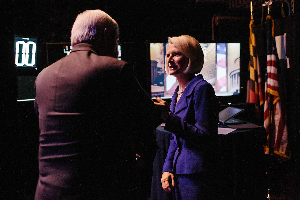 Calista Gingrich greets her husband Newt Gingrich after he finished speaking during the final day of the Conservative Political Action Conference (CPAC) at the Gaylord National Resort & Convention Center in National Harbor, Md.