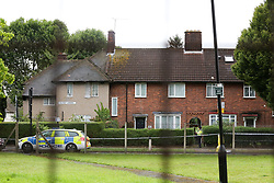 © Licensed to London News Pictures. 05/08/2019. London, UK. A crime scene on Waltheof Gardens in Tottenham, north London. Police launch a murder investigation following a death of a woman at an address in Waltheof Gardens. Police were called around 10:45 am on 4 August 2019 where the body of an 89-year-old woman was found. According to the police one or more suspects gained entry to the woman's house between Saturday (3 August) evening and Sunday (4 August) morning. Photo credit: Dinendra Haria/LNP