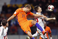 (L-R) Bas Dost of Holland, Aleksei Rios of Belarus during the FIFA World Cup 2018 qualifying match between Belarus and Netherlands on October 07, 2017 at Borisov Arena in Borisov,  Belarus