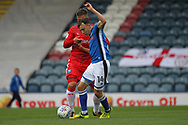 Ollie Rathbone wins a challenge during the EFL Sky Bet League 1 match between Rochdale and Gillingham at Spotland, Rochdale, England on 23 September 2017. Photo by Daniel Youngs.