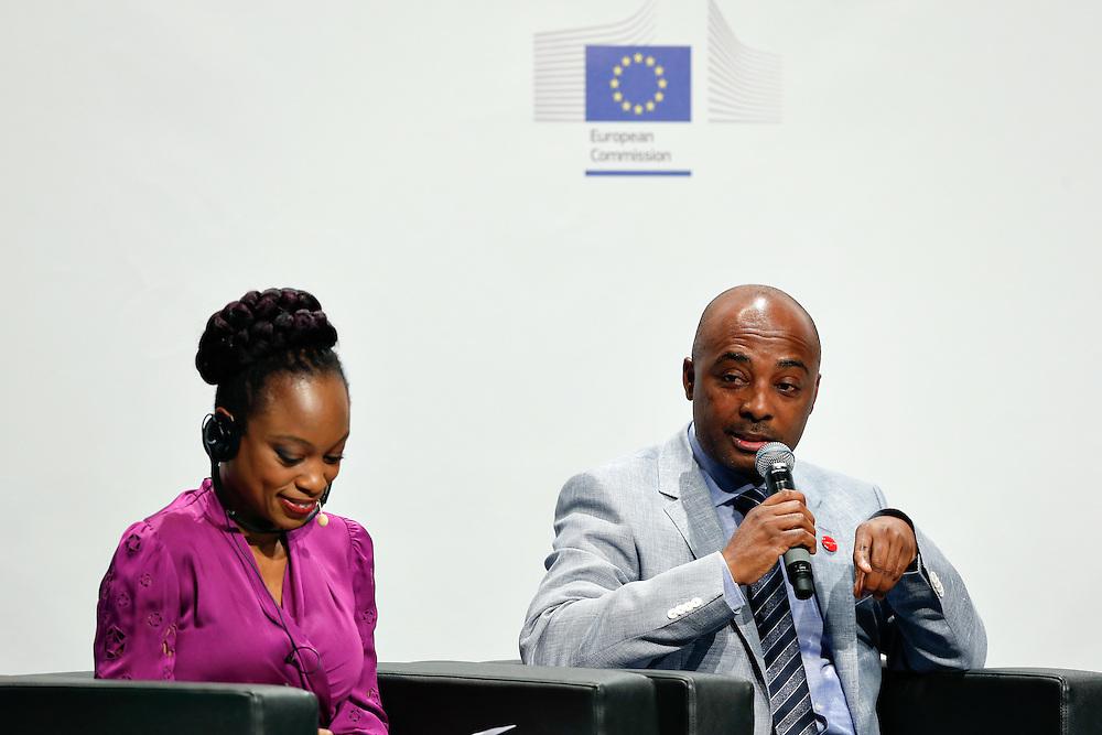 04 June 2015 - Belgium - Brussels - European Development Days - EDD - Education - Right to quality education - Femi Oke , international journalist , writer , moderator - Nesmy Manigat , Minister for Education and Vocational Training , Haiti © European Union