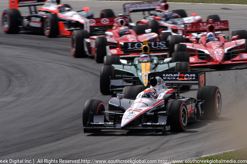 8 August, 2010; Team Penske's WILL POWER leads the field into the first turn of the Izod IndyCar Series Honda Indy 200 at the Mid-Ohio Sports Car Course in Lexington, Ohio..Mandatory Credit: Will Schneekloth / Southcreek Global