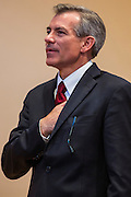02 JULY 2012 - PARADISE VALLEY, AZ:    Congressman DAVID SCHWEIKERT says the Pledge of Allegiance at a Republican candidate forum in Paradise Valley Monday. Schweikert and Ben Quayle, both conservative freshmen Republican Congressmen from neighboring districts are facing each other in an August primary to see which one will represent Arizona's 6th Congressional District in 2013. The two were thrown into the same district as a result of legislative redistricting.    PHOTO BY JACK KURTZ
