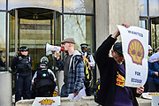 Climate change protesters protest in front of Shell oil HQ on 15th April 2019 in London, United Kingdom.  Extinction Rebellion a climate change protest group are protesting  across the centre of London and plan to block traffic for the next five days.