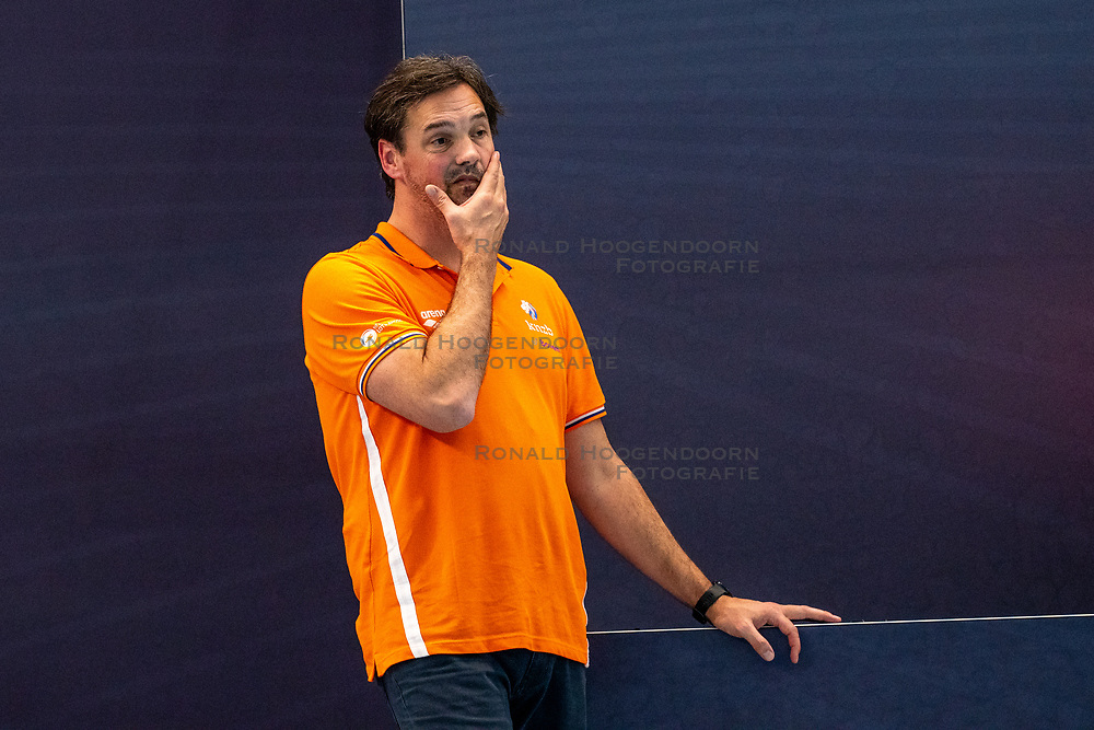 Coach Harry van der Meer of the Netherlands disappointed against Montenegro during the Olympic qualifying tournament. The Dutch water polo players are on the hunt for a starting ticket for the Olympic Games on February 19, 2021 in Rotterdam