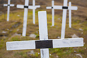 White wooden crosses in the cemetery in Longyearbyen, Svalbard.