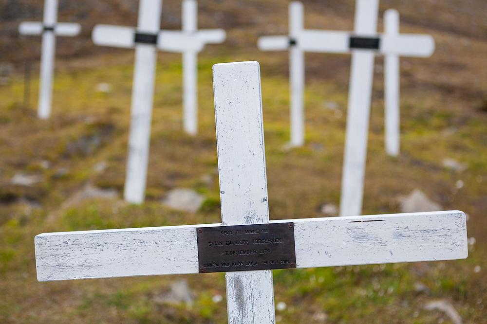 White wooden crosses in the cemetery in Longyearbyen, Svalbard.