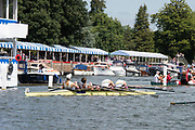 Henley-on-Thames. United Kingdom.  2017 Henley Royal Regatta, Henley Reach, River Thames. <br /> <br /> Fawley Challenge Cup,  Claires Court School exhausted after the final,<br /> <br /> 11:48:31  Sunday  02/07/2017<br /> <br /> [Mandatory Credit. Intersport Images].