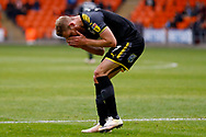 Wimbledon midfielder Scott Wagstaff (7) with a shot that narrowly misses shows his disappointment during the EFL Sky Bet League 1 match between Blackpool and AFC Wimbledon at Bloomfield Road, Blackpool, England on 20 October 2018.