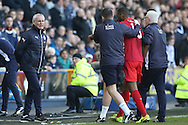 Claudio Ranieri, the Leicester City manager watches as his Leicester City medical team  help injured player Molla Wague of Leicester City off the field for treatment. The Emirates FA Cup 5th round match, Millwall v Leicester City at The Den in London on Saturday 18th February 2017.<br /> pic by John Patrick Fletcher, Andrew Orchard sports photography.