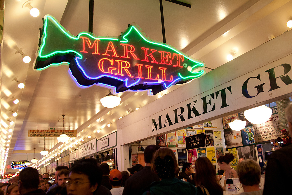 North America, United States, Washington, Seattle, neon sign at Pike Place Market
