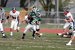 10 November 2007: Marcus Dunlop breaks into the secondary. This game between the Wheaton College Thunder and the Illinois Wesleyan University Titans was for a share of the CCIW Championship and was played at Wilder Field on the campus of Illinois Wesleyan University in Bloomington Illinois.