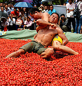 Wrestling Match At Cherry Tomatoes Pool