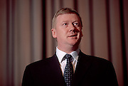 St Petersburg, Russia, 06/10/2000..Anatoly Chubais, Director of Russian electricity supplier United Energy Systems.