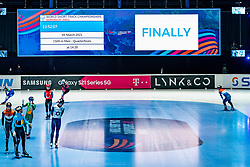Boarding and led board during ISU World Short Track speed skating Championships on March 05, 2021 in Dordrecht