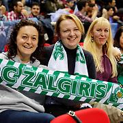 Zalgiris Kaunas's Supporters fans during their Turkish Airlines Euroleague Beskatball Top 16 Game 5 Anadolu Efes between Zalgiris Kaunas at Abdi Ipekci Arena in Istanbul Turkey on Friday 25 January 2013. Photo by Aykut AKICI/TURKPIX