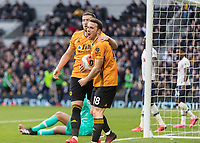 Football - 2019 / 2020 Premier League - Tottenham Hotspur vs. Wolverhampton Wanderers<br /> <br /> Diogo Jota (Wolverhampton Wanderers) celebrates after scoring for his team to bring the score to 2-2 at The Tottenham Hotspur Stadium.<br /> <br /> COLORSPORT/DANIEL BEARHAM