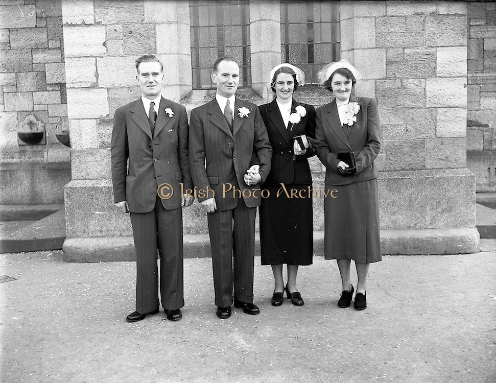 11/02/1953<br /> 02/11/1953<br /> 11 February 1953<br /> Wedding of Mr. J. Burke, 22, Shelton Drive, Kimmage Road West and Miss Maura O'Brien, 9, Tyrconnell Street Inchicore, at St. Michael's Church Inchicore, Dublin.