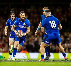 Jayden Hayward of Italy<br /> <br /> Photographer Simon King/Replay Images<br /> <br /> Six Nations Round 1 - Wales v Italy - Saturday 1st February 2020 - Principality Stadium - Cardiff<br /> <br /> World Copyright © Replay Images . All rights reserved. info@replayimages.co.uk - http://replayimages.co.uk